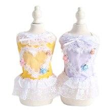 Summer Princess Lace Pet Dog Dresses Lovely Floral Girl Dress for Dogs Yorkshire Terrier Cool Clothing Tutu Skirt 10E