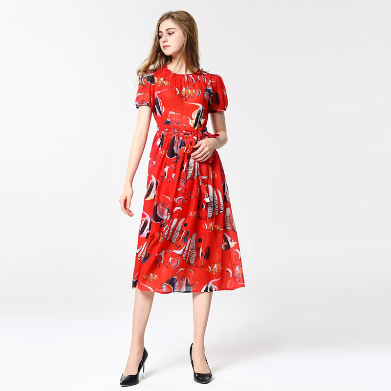 2018 spring summer holiday wind new style , tropical fish printing bubble short sleeved long dress Mid-Calf dress