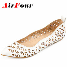 Airfour  New Women Fashion Cut-outs Spring and Autumn Flats Shoes Woman 3 Colors Sweet Pink Shoes Slip-on Casual Flats Shoes