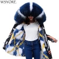 WSYORE Mid long Winter Jacket Women Parka Thick Outwear Plus Size Large Raccoon Fur Collar Hooded Coat Warm Fox Fur Jacket NS693