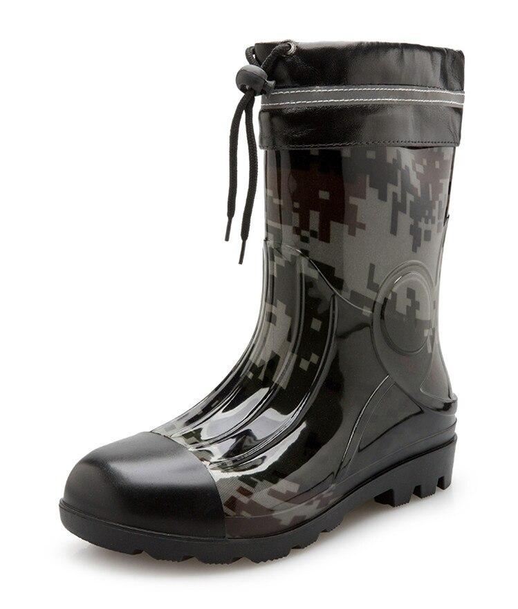 Rouroliu Men Autumn Waterproof Rain Boots Mid Calf Water Shoes Man Wellies Non slip Winter Footwear Warm Socks Inserts TS163