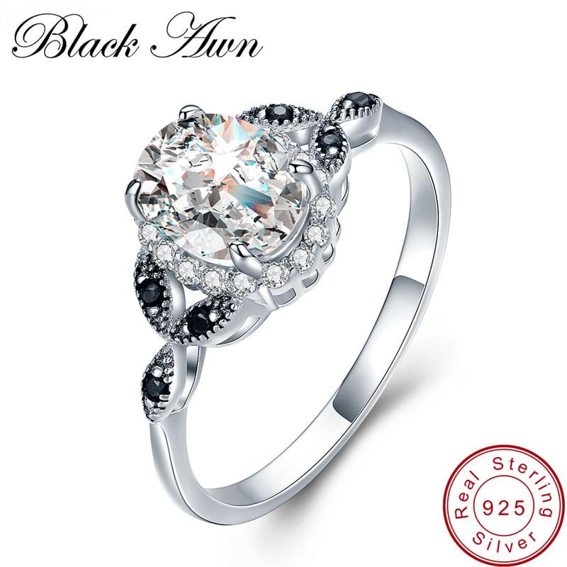 [FEKETE AWN] 925 ezüst ékszerek divatos eljegyzési esküvői gyűrűk nőknek, méret: 6 7 8 C038