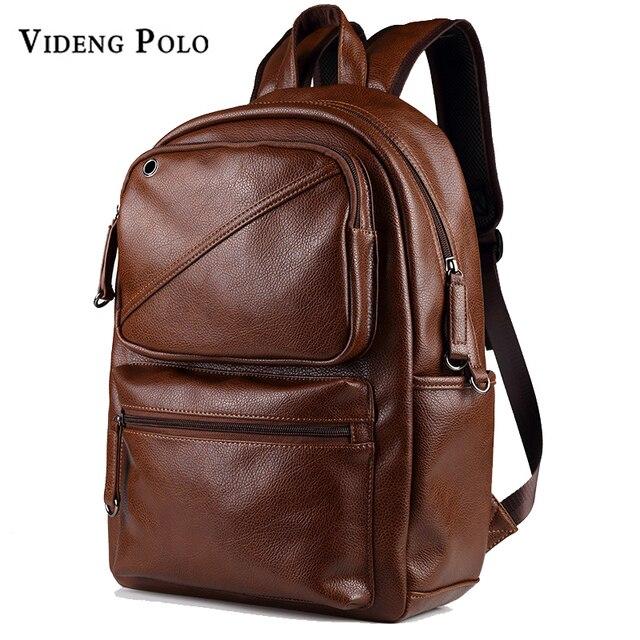 VIDENG POLO Men Brand Designer Large Capacity Backpack Leather ...