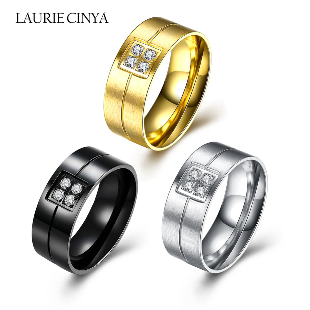2017 Hot Sale Anti Allergy Engagement Rings 63g Three Different Colors  Stainless Steel Crystal Wedding Jewelry Women Rings