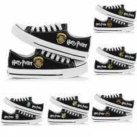 Nouveau Magic poudlard HP femmes hommes toile chaussures baskets garçons et filles chaussures décontractées adolescents chaussures de sport couleur noire