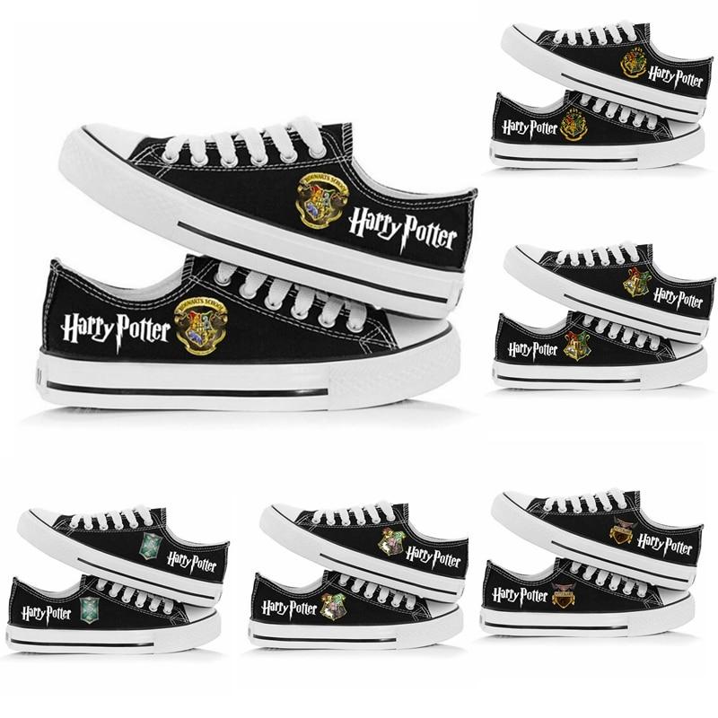 Nova magia hogwarts hp sapatos de lona dos homens das mulheres tênis meninos e meninas sapatos casuais adolescentes sapatos esportivos cor preta