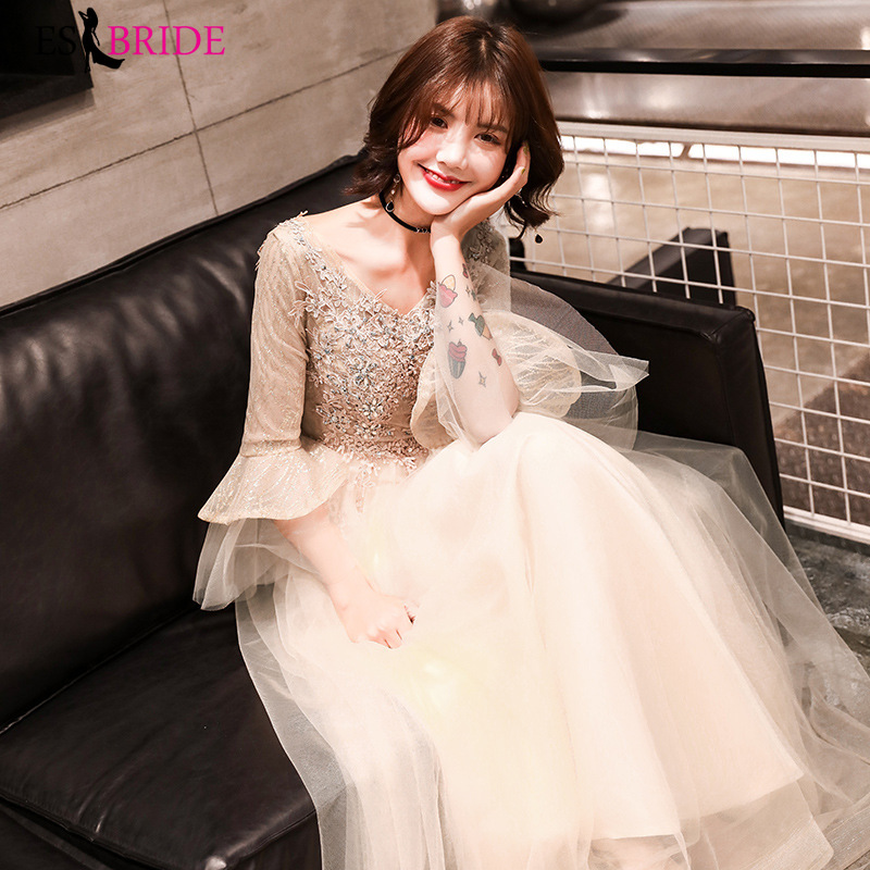 Luxury Gold   Evening     Dress   Arabic Elegant Tulle Long Sleeve Special Occasion   Dresses   Lace   Evening   Gown   Evening     Dresses   ES2488