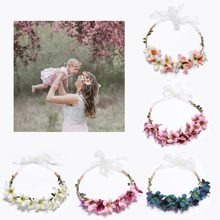 New Arrivals Flower Headbands For Girls Kids Flower Headband Baby Hair Bands Mommy & Kids Hair Accessories Floral Wreath(China)
