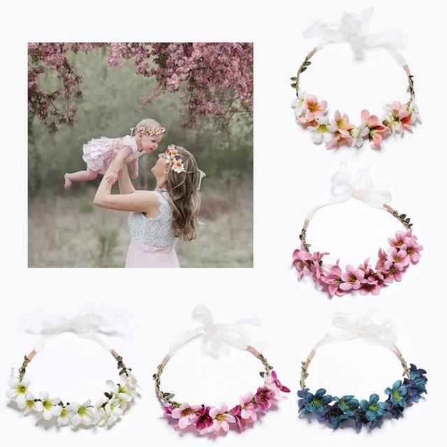 New Arrivals Flower Headbands For Girls Kids Flower Headband Baby Hair Bands Mommy & Kids Hair Accessories Floral Wreath