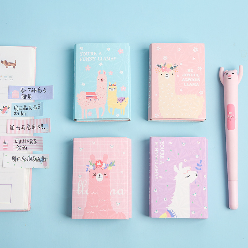 Colorful Cute Alpaca Memo Pad Sticky Notes Memo Notebook Stationery Papelaria Escolar School Supplies(China)