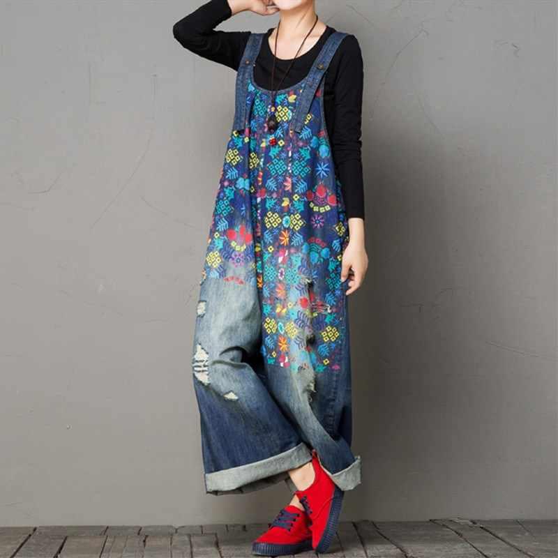 По сравнению с Размеры широкие Джинсовые комбинезоны Для женщин Винтаж цветочный Рисунок джинсовые комбинезоны больших Размеры ремни джинсовые комбинезоны
