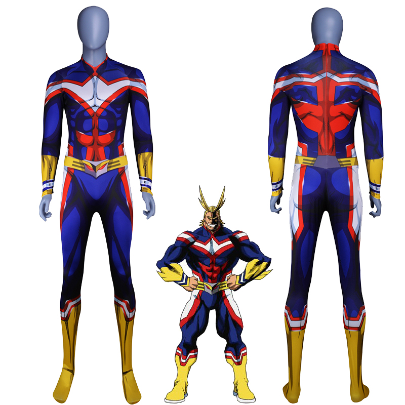 37f1fa050 US $27.99 30% OFF|3D Printed My Hero Academia All Might Cosplay Costume  Zentai Catsuit Superhero Costume For Halloween Long Sleeve Jumpsuit-in  Anime ...