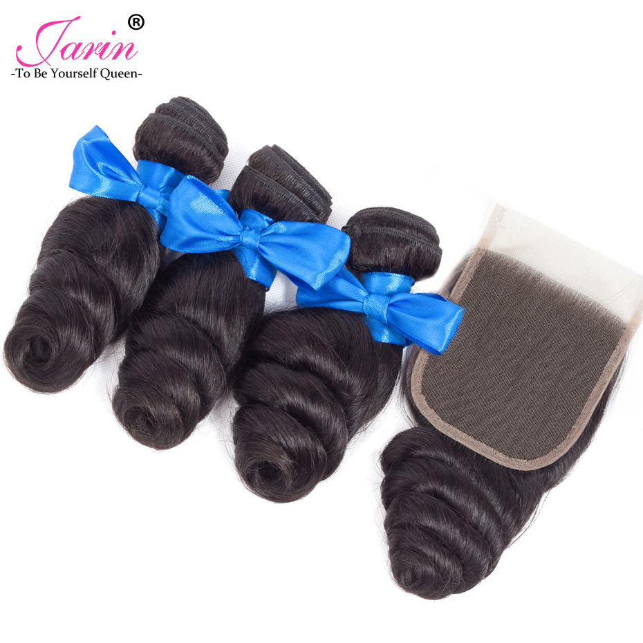 JARIN Hair Peruvian Loose Wave 3 Bundles Human Hair With Lace Closure 4 4 Free Middle