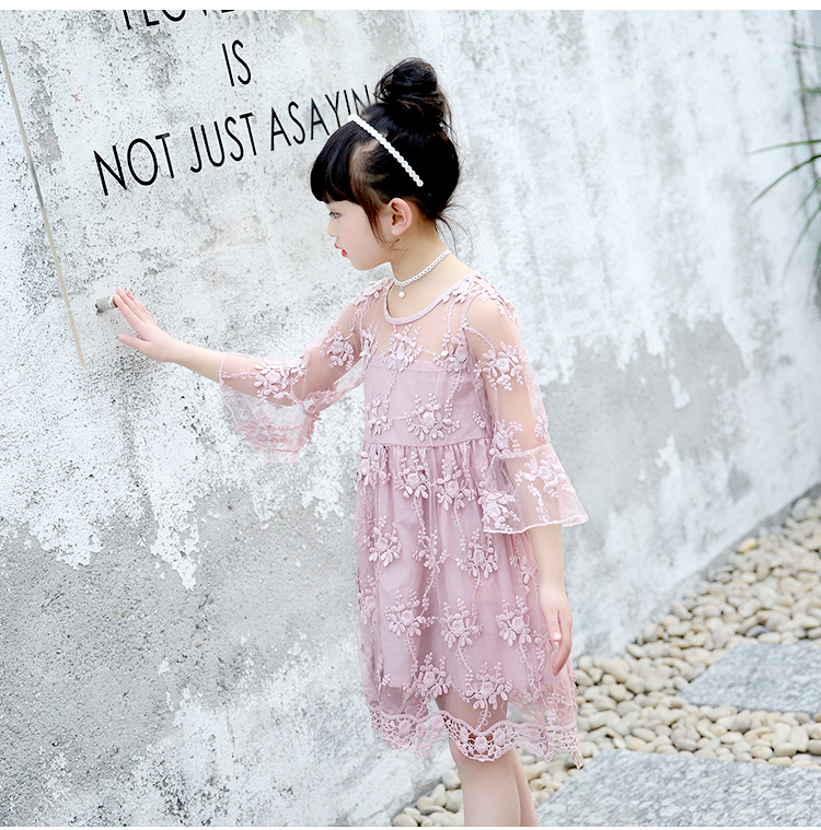 b00730bb5215 2-7Years Girls Lace Dress Fancy Kids Princess Casual Dresses Summer White  Pink Sundress Beach Wear O-Neck Outfits Prom Clothes. undefined