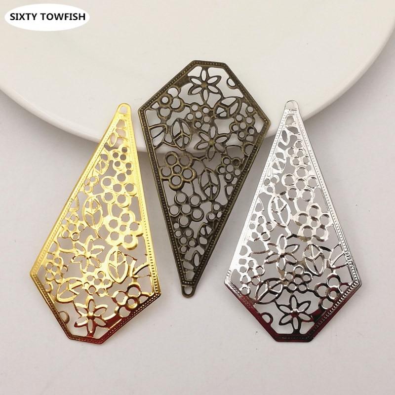 10pcs/lot 69mmx38mm Gold Color/White K/Antique Bronze Metal Filigree Big Flowers Slice Charms Pendant DIY Components B20184