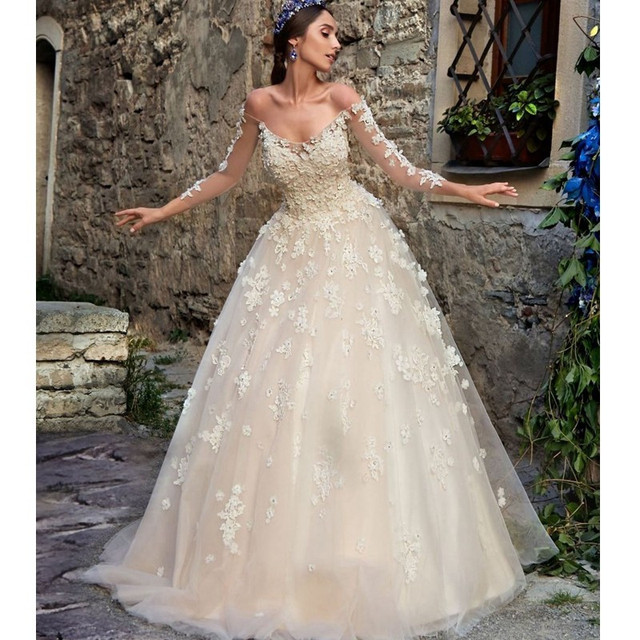 Gorgeous Off the Shoulder Long Sleeves Garden Wedding Dresses A Line ...