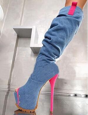 Новые стильные пикантные сапоги выше колена с открытым носком водонепроницаемые на платформе женские синие розовые красные ботинки на тон