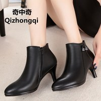 Fall Winter New Genuine Leather Women Boots Pointed High Heeled Ankle Boots Velvet Leather Boots High