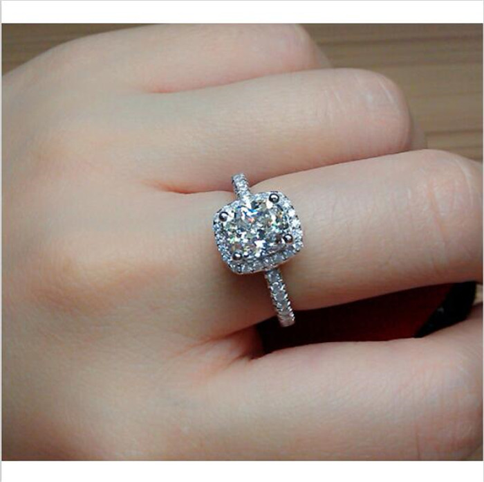 Ladys S925 Silver Diamonique White CZ Crystal Stone Wedding Rings Designer-inspired US Size 5,6,7,8,9,10,11,12
