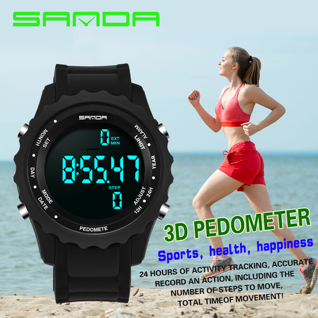 SANDA Fashion Men Sports Watches Waterproof Step counter Fun Digital Watch Swimming Diving Wristwatch Reloj Hombre Montre 370