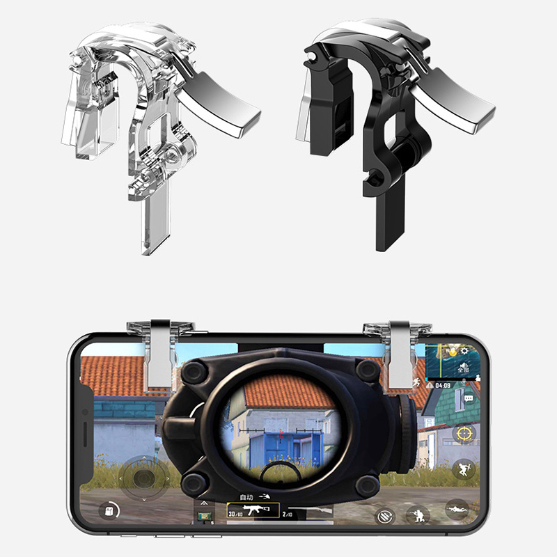 Image 5 - S4 Transparent Metal Pubg Mobile game Controller L1R1 Shooter Trigger Fire Button Aim Key Joystick For iPhone Android IOS-in Gamepads from Consumer Electronics