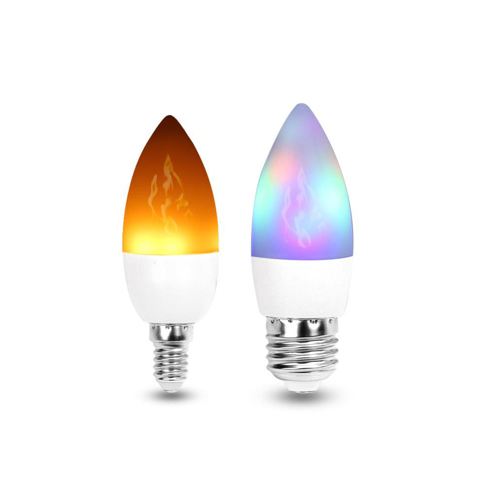 <font><b>LED</b></font> Candle <font><b>Bulb</b></font> Light E27 <font><b>E14</b></font> E12 <font><b>led</b></font> Flame light RGB lighting Bombillas 3W <font><b>110V</b></font> 220V Christmas Creative Fire Lights Lamparas image