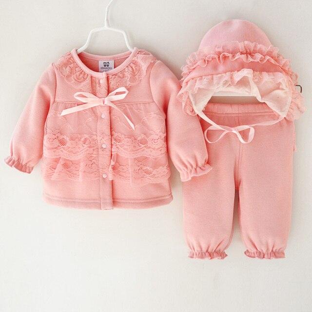 Осенью и зимой бархат комплект одежды младенца формальный набор платье принцессы кружева детские наряд новорожденный девочка одежда