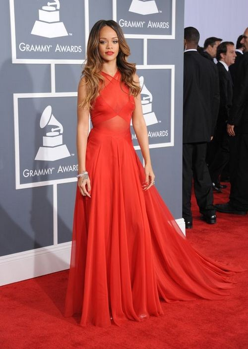 Rihanna Red Dress Grammys 2017 Carpet Gown Inspired Celebrity Dresses For Prom In From Weddings Events On Aliexpress