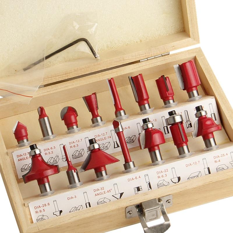 15pcs Milling Cutter Router <font><b>Bit</b></font> Set 8mm Wood Cutter Carbide Shank Mill Woodworking Engraving Cutting Tools