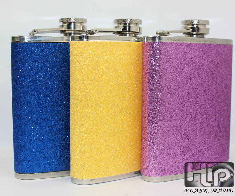 30 pcs High quality Glitter color leather wrapped 7oz stainless steel pocket hip Flask 3 color