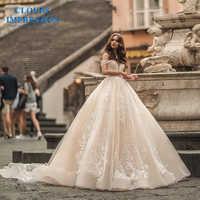 CLOUDS IMPRESSION Sweetheart Off the Shoulder Sexy A-Line Lace Wedding Dresses 2019 Vestido De Novia Bridal Gown Royal Train