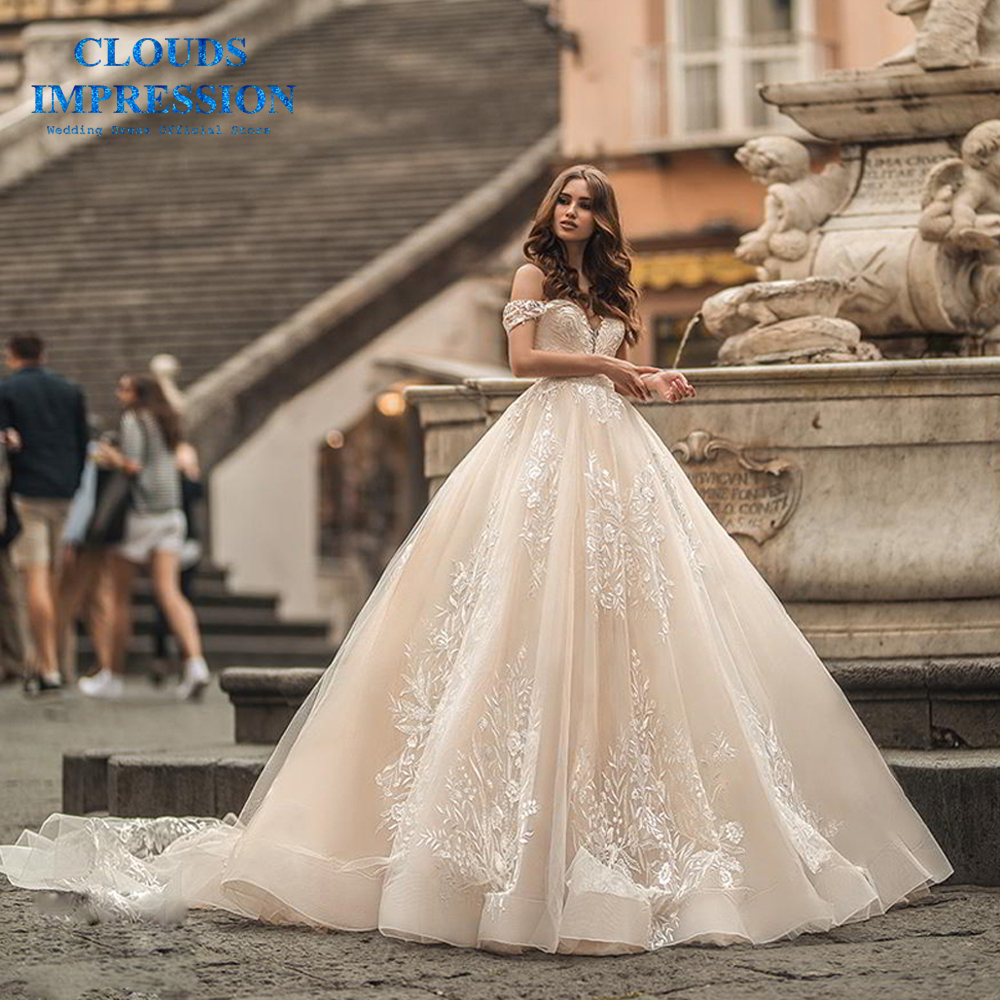 Sexy A-Line Lace Wedding Dresses 2019 Sweetheart Off The Shoulder Mariage Plus Size Vestido De Novia Bridal Gown Royal Train