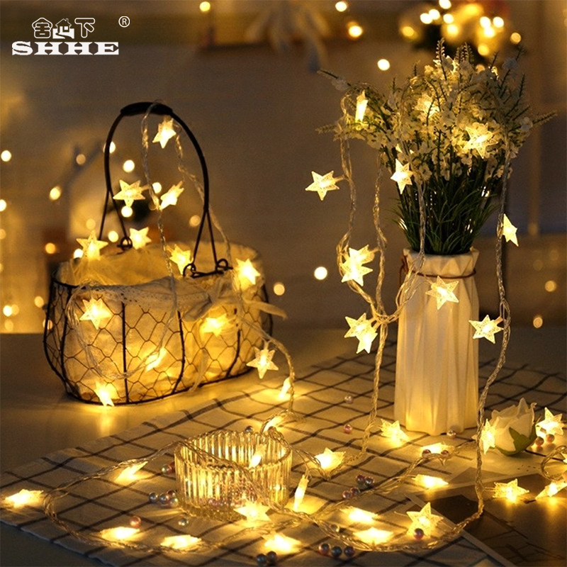 Battery Powered Fairy Garland Lights LED Star String Lights 5M 40LED Decorative Lighting For Christmas Tree Indoor Decoration