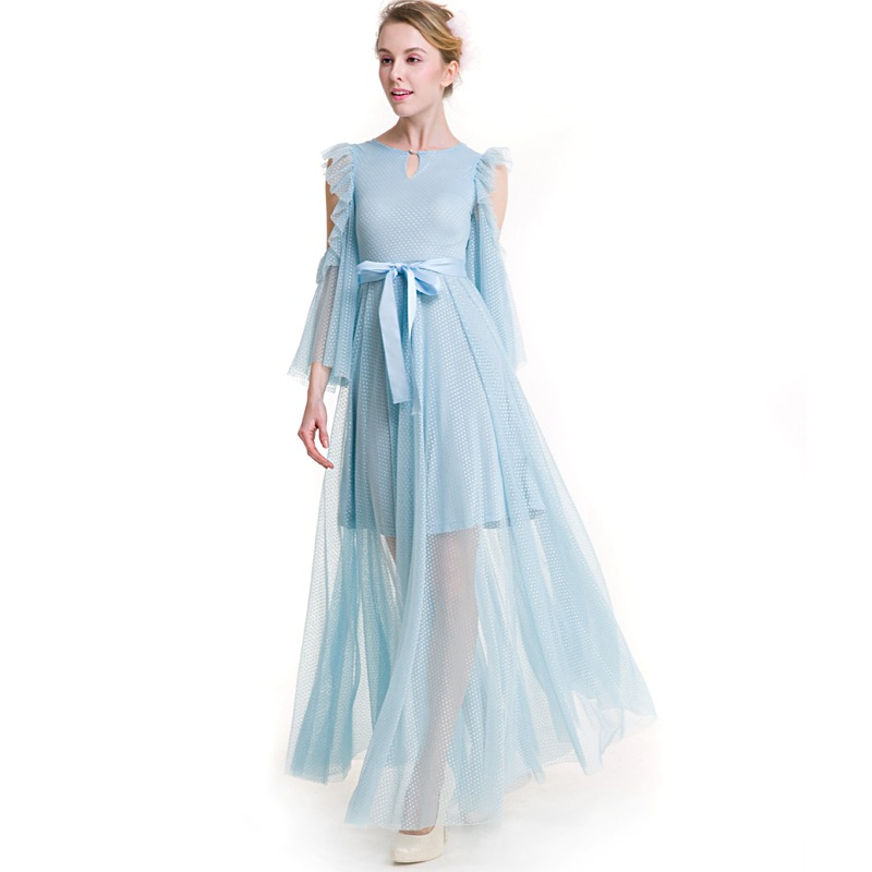 YSMILE Y Women Sweet Dress Strapless Lace Swing Fairy Dress Print Dot Sashes Long Mesh Dress Female Party Holiday Female Cloth