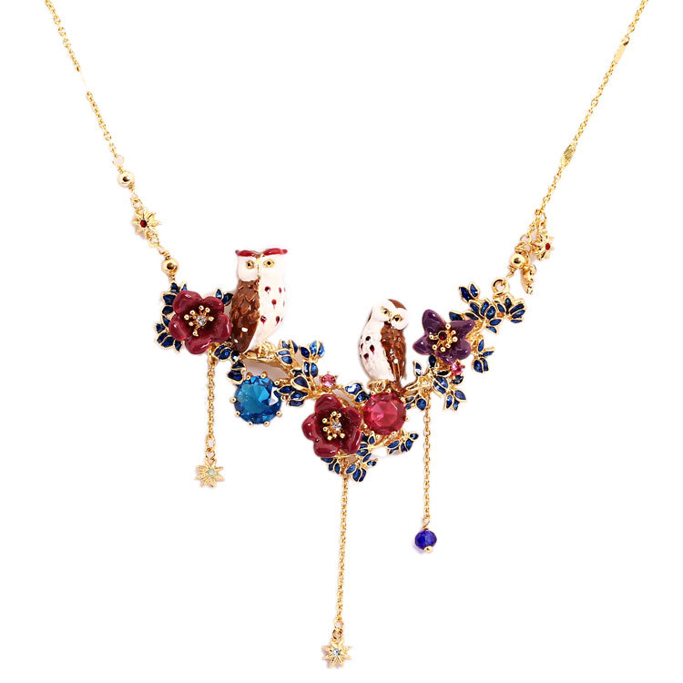 Dyxytwe Enamel Glaze Fashion Jewelry Women's Romantic Pendant Necklace Clavicle Chain Couple Owl Tassel Luxury Accessories rhinestone alloy honeybee glaze pendant necklace