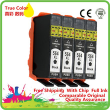 4ink 564 564XL ink cartridge with chip For hp Photosmart 5510/5511/5512/5514/5515/5520/5522/ 5525/6510/6512/6515/6520 printer 2015 new [hisaint]2pk ink cartridge for hp 564xl black photosmart 5510 5514 5515 5520 6520 printer