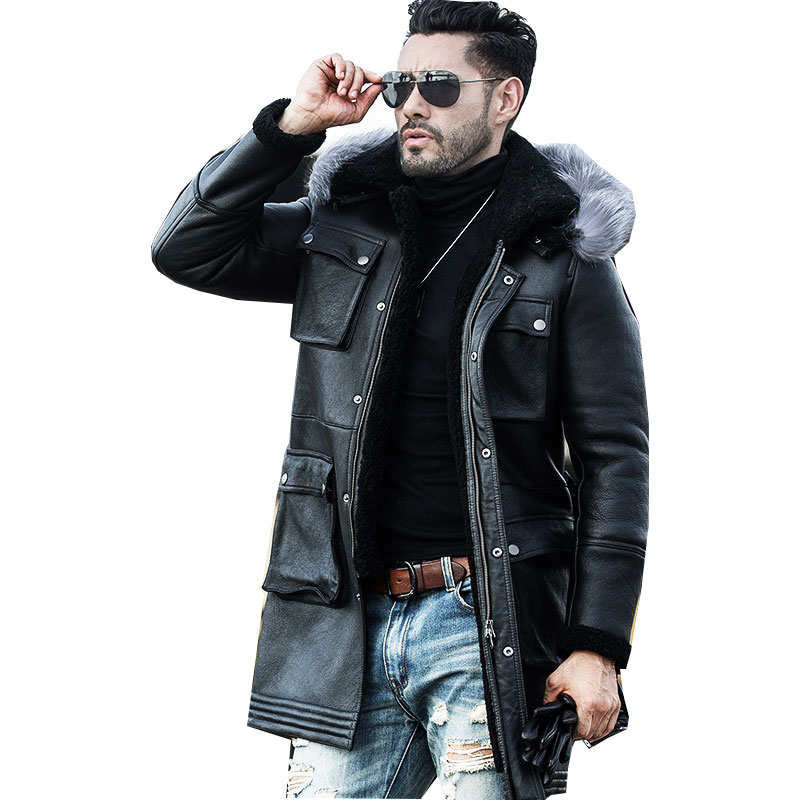 Hot Sale Fashion Sheepskin Leather Jacket Coat Wool Liner Men Winter Thick Long Leather Fur High Quality Coat Plus Size M-4XL