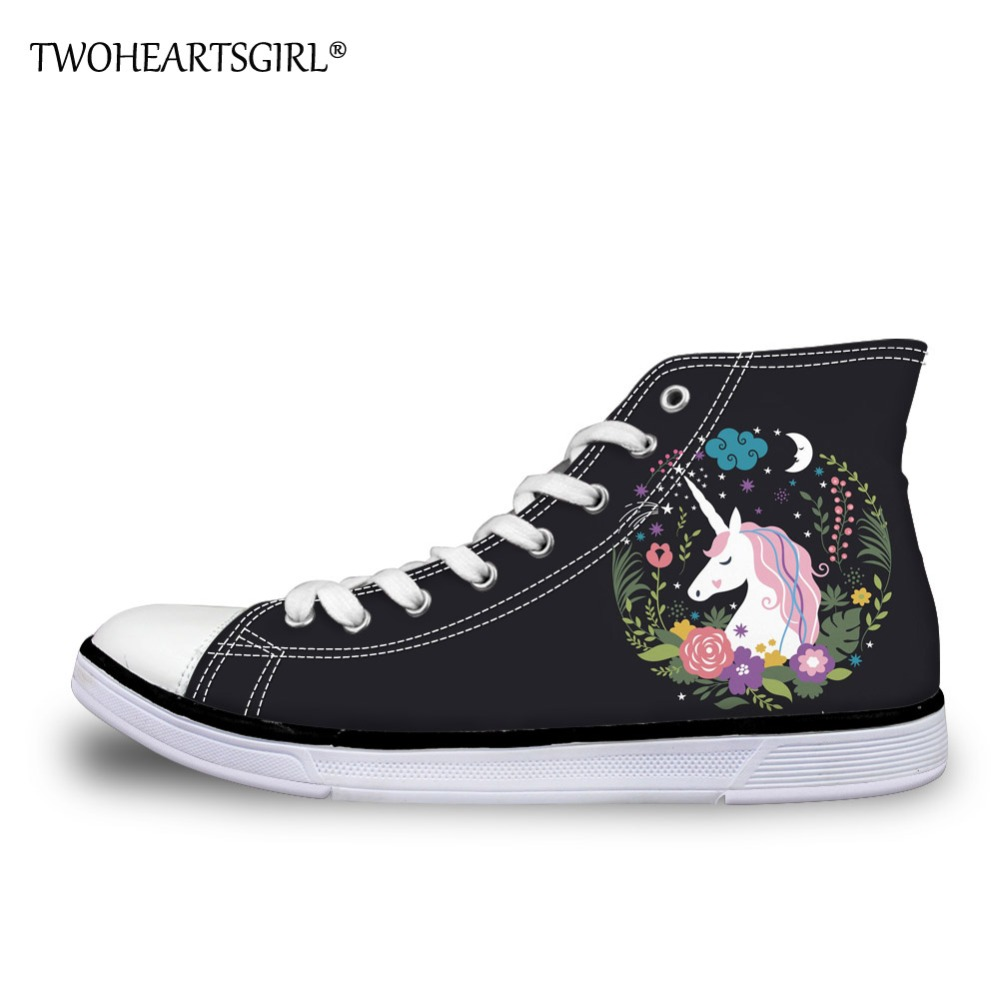 Twoheartsgirl Lovely Unicorn Design Women Black High Top Canvas Shoes Lace-up Slip-on Breathable Flat Casual Ladies Sneakers black v neck lace up design cami top
