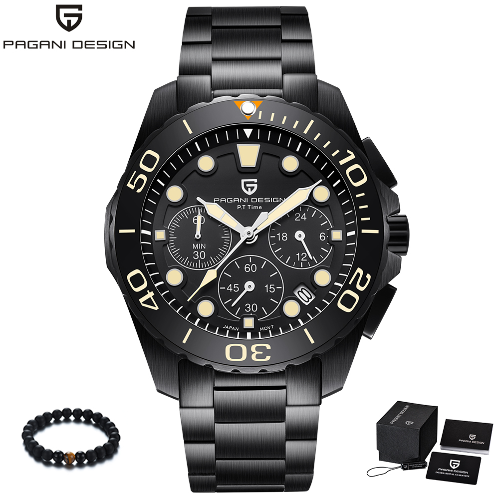 PAGANI Design Brand Black Stainless Steel Band Luxury Watch Men Quartz Business Male Military Wristwatch Mens