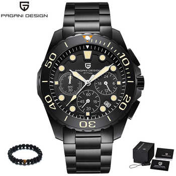 PAGANI Design Brand Black Stainless Steel Band Luxury Watch Men Quartz Business Male Military Wristwatch Mens reloj hombre 2018 - DISCOUNT ITEM  48% OFF All Category