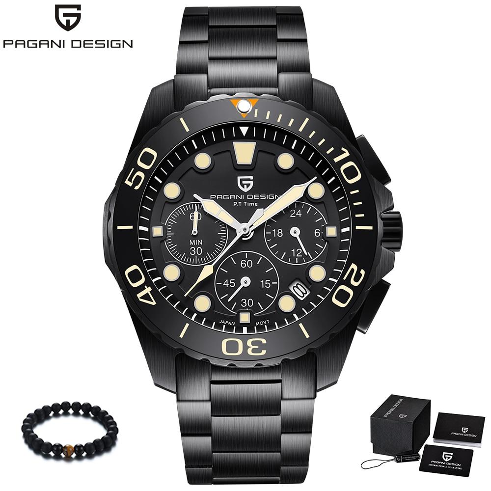 PAGANI Design Marke Schwarz Edelstahl Band Luxus Uhr Männer Quarz Business Männlichen Military Armbanduhr Herren reloj hombre 2018-in Quarz-Uhren aus Uhren bei  Gruppe 1