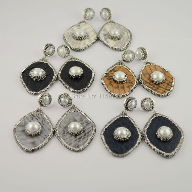 Fashion 4pair Mixed Color Charm Rhombus Shape Snakeskin Earrings Pave Rhinestone Pearl Dangle