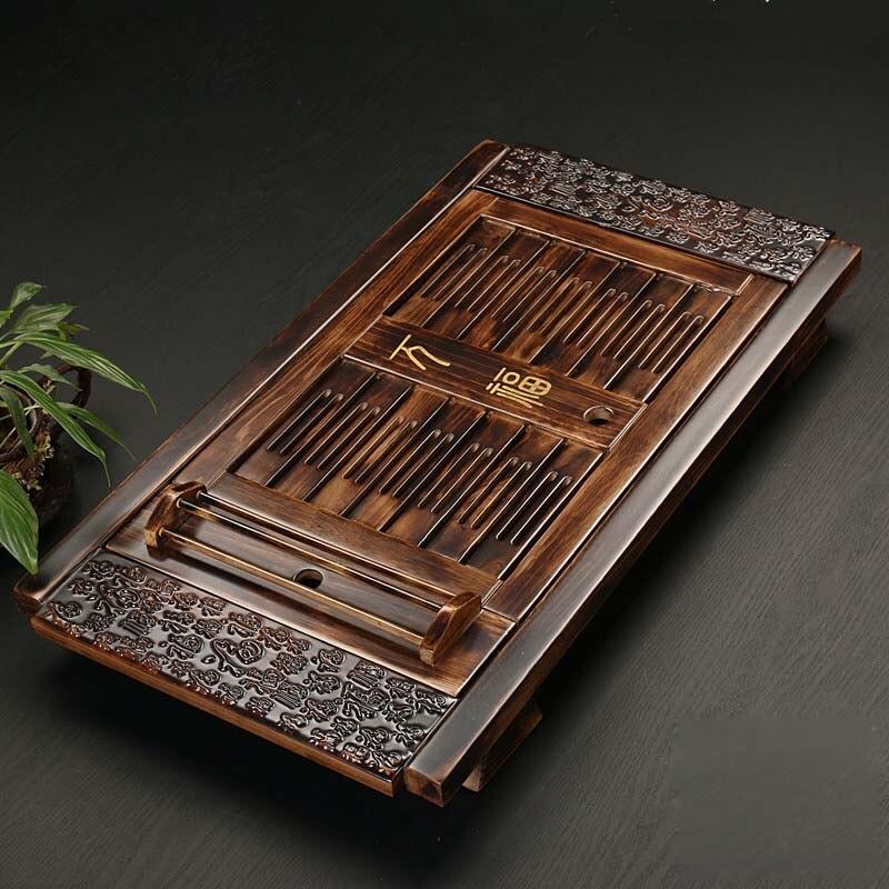 Chino de madera maciza té accesorios vasos bandeja de Té Kung Fu té mesa tipo cajón Kung Fu de almacenamiento de bandeja