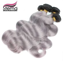 Free Shipping 5 pcs Top Grade Stema Ombre Gray color Human Hair Weave Brazilian Body Wave Soft Bouncy Curl Full ends