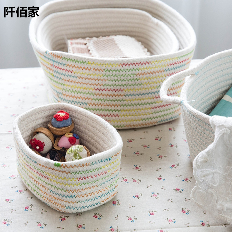 Handmade Cotton Baskets : Pcs creative cotton thread handmade woven basket laundry