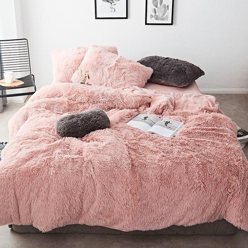 Pink Blue White Gray Red Purple Green Winter Thick Fleece Bedding Set Mink Velvet Duvet Cover Bed Linen Fitted Sheet Pillowcases