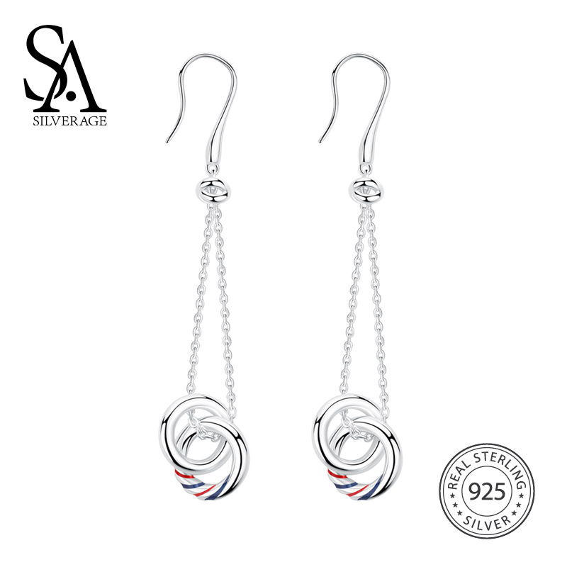 SA SILVERAGE 925 Sterling Silver Europa Drop Dangle Earrings For Women Fine Jewelry New Arrival