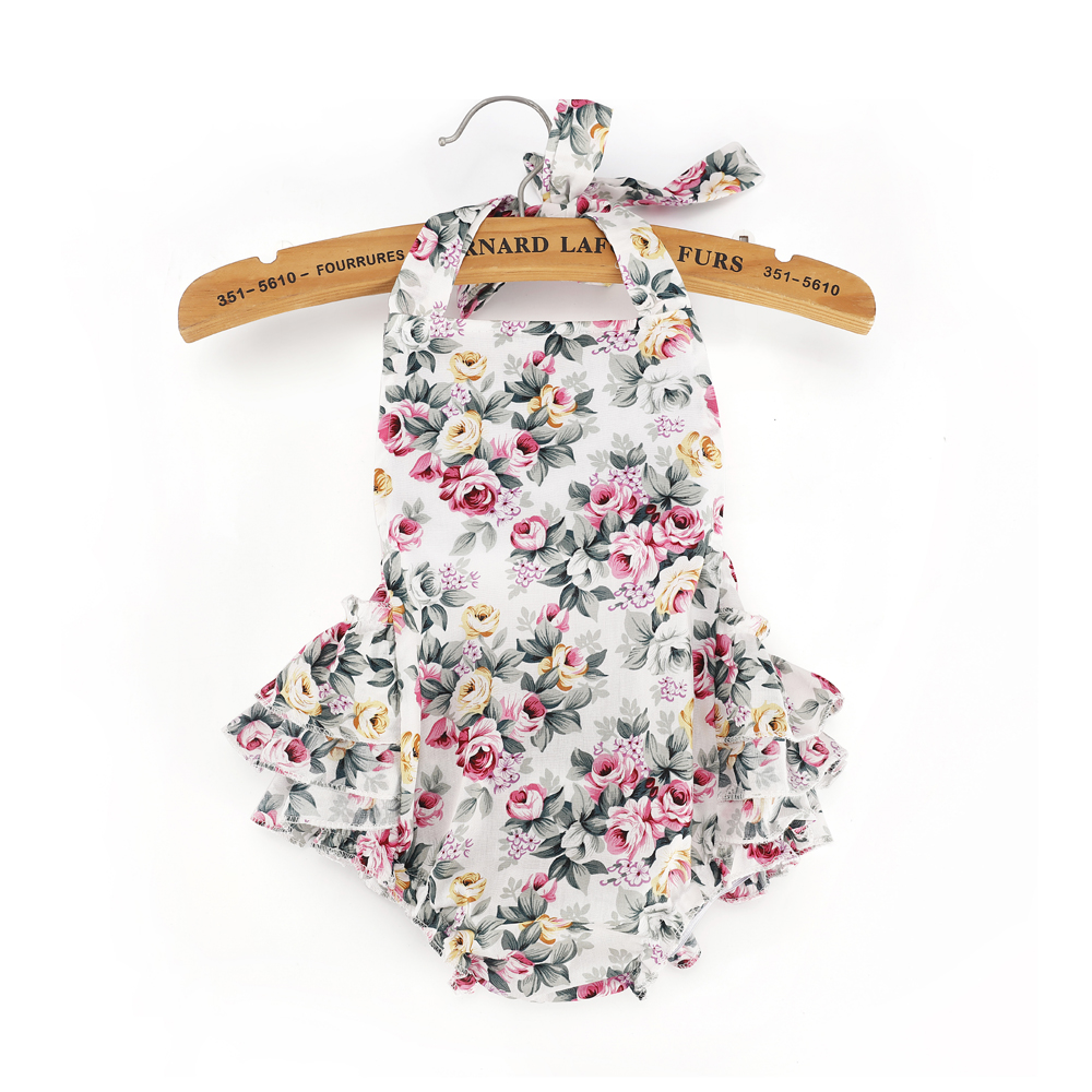 Ruffled Flower Baby Rompers Sleeveless Back Bandage Kids Jumpsuit Cotton Romper onepiece Beach Photo Props with bow headband Y3