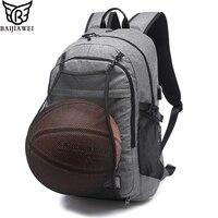 BAIJIAWEI New Men S Laptop Backpacks 17 Inch Notebook Computer Bags Basketball Net Men School Backpack