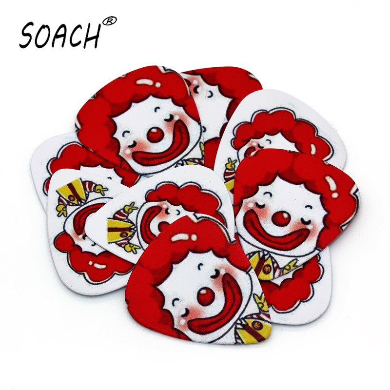 SOACH 10pcs 0.46mm guitar paddle PVC double-sided printing clown pattern playing instrument plucked accessories